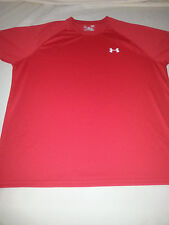 Mens Under Armour red large Loose Fit heat gear Polyester short sleeve Shirt