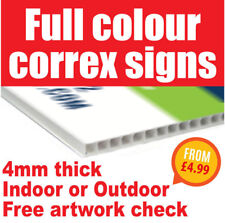 Custom Personalised Correx Sign Any Colour Any Design Indoor & Outdoor Use