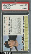 1961 Post Cereal #98 Perforated Pedro Ramos Minnesota Twins PSA 8 NM-MT