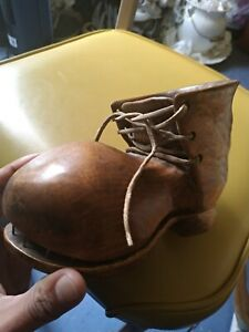 HAND CARVED FOLK ART WOOD WOODEN BOOT SHOE MOUNTAIN leather planter hobo large