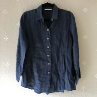 Soft Surroundings Medium 100% Linen Blue Long Sleeve Button Down Shirt Top