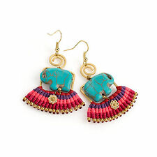 Ladies Gold Coloured Elephant Turquoise Coloured Earrings Ladies Jewellery
