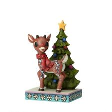 Enesco H8 Jim Shore Rudolph Standing By Christmas Tree 5.2in Figurine