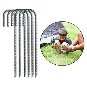 6pcs/set 30cm Steel Ground Stakes J Hooks Tent Pegs Trampoline Anchors
