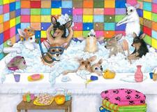 ACEO funny art print from art painting Dog 121 Chihuahua in bath by L.Dumas