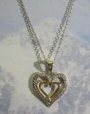 """925 Sterling Silver Open Heart In A Heart Gold Tone Necklace 18"""""""