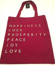 Forever 21 Shopping Bag Tote 100% Cotton Love Peace Joy Luck Print Red