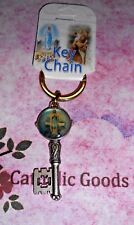 """Our Lady of the Highway 2"""" Antique Silver tone + Enamel -  Key Ring"""