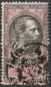 Austria, 5kr black & pink fiscal/revenue stamp, used.