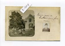Antique Postcard, postmark Dover NH RPPC real photo home, family, 1906