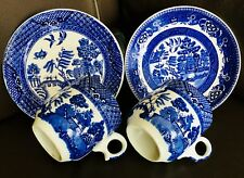 """Pair of Original Antique Alfred Meakin Blue """"Old Willow"""" China Cups & Saucers"""