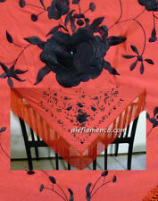 flamenco embroidered shawl / manton / scarf / piano red black Medium