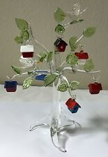 Decorative Hand Blown Clear Crystal Tree w/Glass Bird Houses Table Top Sculpture
