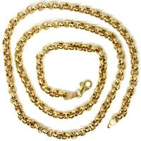 18K YELLOW GOLD CHAIN 23.60 IN, BIG ROUND CIRCLE ROLO LINK, 5 MM MADE IN ITALY