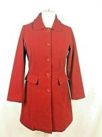Ladies Mia Moda Red Button up Mid Length Coat Jacket Size 12