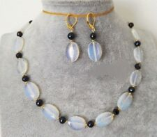 Rare 13x18mm Natural White Moonstone Gemstone Beads Necklace 18'' Earring Set
