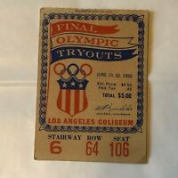 1956 Olympic Tryouts Ticket Los Angeles Coliseum
