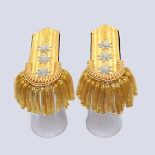 Gold wire Braid Bullion Shoulder/Epaulette with fringes & 3 silver star - BWS