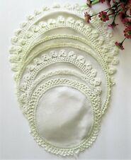 Vintage Lot 7 Antique Linen Fabric Doilies w/ Crochet Lace Borders Ivory Cream