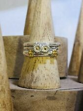 Sterling Silver 925 Stacking Rings Daisy Theme Size L