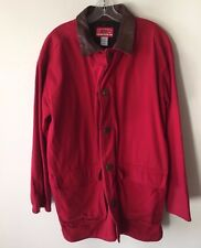 Marlboro Country Store Field Barn Coat Jacket Canvas Red Leather Trim Men's M