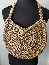 The Sak Wooden Beaded Shoulder Hobo Bag Purse Handbag NO Lining Blond Wood