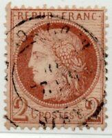 1871/73 FRANCIA CERERE 2 CENT. ROSSASTRO MARRONE BEN CENTRATO USATO