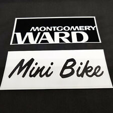 "Set of 2 Montgomery Ward Mini Bike DECALS, 2"" x 5"" Vinyl Minibike STICKERS"