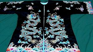 """ANTIQUE CHINESE 5 GOLD TREADS IMPERIAL DRAGON SILK EMBROIDERED ROBE 48""""x63"""""""