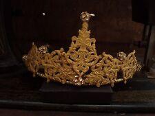 Gioielli vintage antico Matt Oro Filigrana Tiara con cristalli chiari