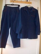Women's suit outfit Pants and top collar shirt Button Up Embroidered Large 10 12