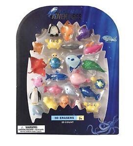 Underwater Adventures 3D Animal Erasers 25 Piece Set