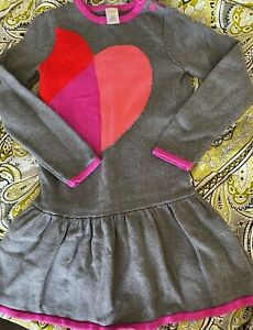 Gymboree- NWT $39.95 gray and pink heart sweater dress- PRECIOUS- Size 7