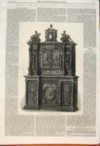 Old Antique Print Ivory Cabinet Fourdinois Chimneypiece M'Dougall Stall