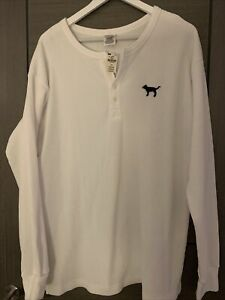 VICTORIA'S SECRET PINK CAMPUS LONG SLEEVE HENLEY WHITE BUTTON DOWN TOP Large NWT