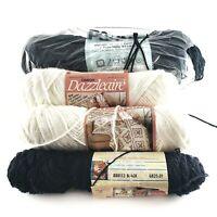 LOT mostly vintage BLACK & WHITE yarn dazzleaire LION BRAND caron