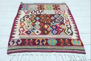 "Turkish Fethiye Small Kilim, Door Mat, Bath Mat,  Rugs, Carpet, Teppiche 30""X31"""