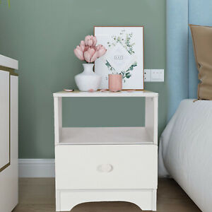 Bedroom Nightstand w/Drawer  White Bedside Chest Side Table Cabinets UK