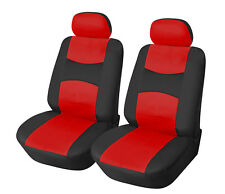 Leather Like Vinyl Pair of 2 Front Car Seats Covers Color- Bk/Red #F15908