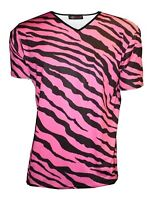 MEN'S PINK ZEBRA ANIMAL PRINT T-SHIRT TOP FANCY DRESS COSTUME GOTH PUNK EMO