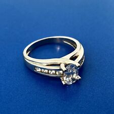 14K White Gold Diamonique Cubic Zirconia Oval Solitaire Accents Engagement Ring