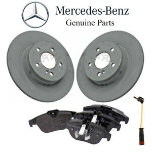 For Mercedes W204 C300 Rear Brake Pad Set & 2 Disc Rotors & 1 Sensor Kit Genuine