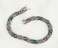 MIXED COLORS RUBY SAPPHIRE .925 SOLID STERLING SILVER BRACELET #59491
