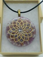 Rainbow Moonstone, Lilac Lepidolite, & Tanzanite Crown Chakra Orgone Pendant