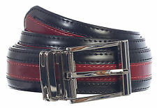 Men's Premium Handmade Genuine Leather Two Toned Belt 6 Colors Gift Blk / RED