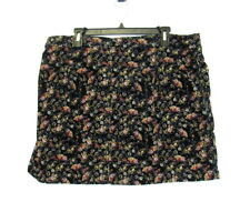 MOSSIMO BLACK MUTED FLORAL CORDUROY MINI SKIRT Cotton/Spandex Size 18