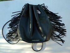 New Victorias Secret Black Fringe Drawstring Black Backpack / Bag Retails $85