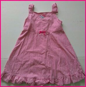 Hanna Andersson Pink Dress 110 White Gingham Flower Sleeveless Cotton Anderson