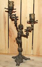 Vintage hand made ornate floral cherub metal candle holder