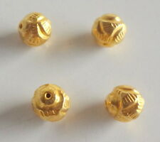 Solid 22 Carat (22K) Yellow Fine Gold 5MM Antique Round 30 Pieces Handmade Beads
